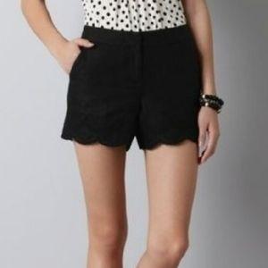 LOFT Embroidered Scallop hem Shorts